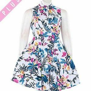 Dresses & Skirts - High Neck Tropical Floral Flare Dress